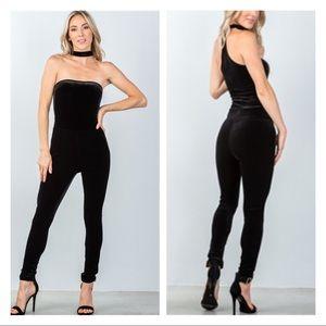 Pants - 🆕 ARRIVAL BLACK VELVET CHOKER JUMPSUIT